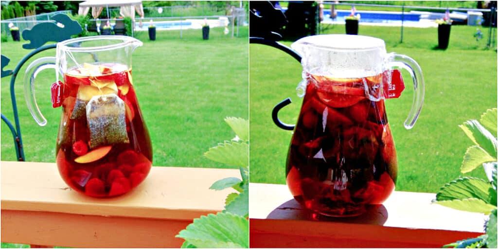 A horizontal two photo collage of Peach and Raspberry Sun Tea