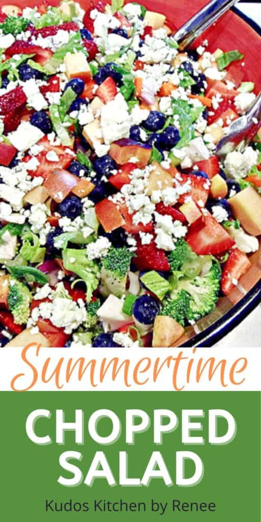 A vertical closeup image along with a title text graphic for Summertime Chopped Salad with berries, broccoli, blue cheese, and nectarines.