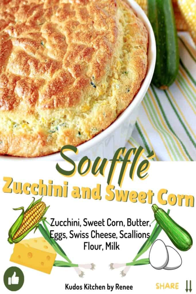 A cute graphic with a title text and images for a Zucchini and Sweet Corn Soufflé.