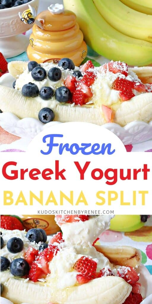 A vertical two image collage of a Frozen Greek Yogurt Banana Split along with a title text overlay graphic in the center.