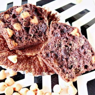 The inside of a Chocolate Zucchini Muffins with Peanut Butter