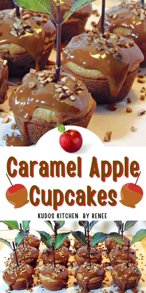 A two image vertical collage along with a cute title text overlay graphic for Caramel Apple Cupcakes.