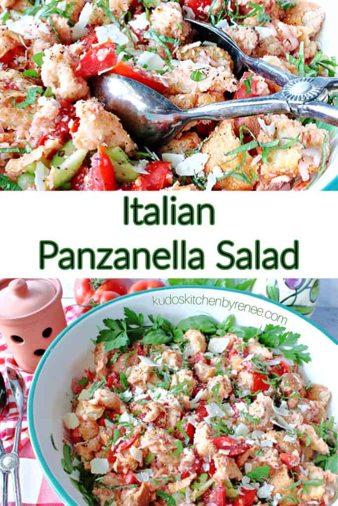 A two image vertical collage for Italian Panzanella Salad with a title text overlay graphic.