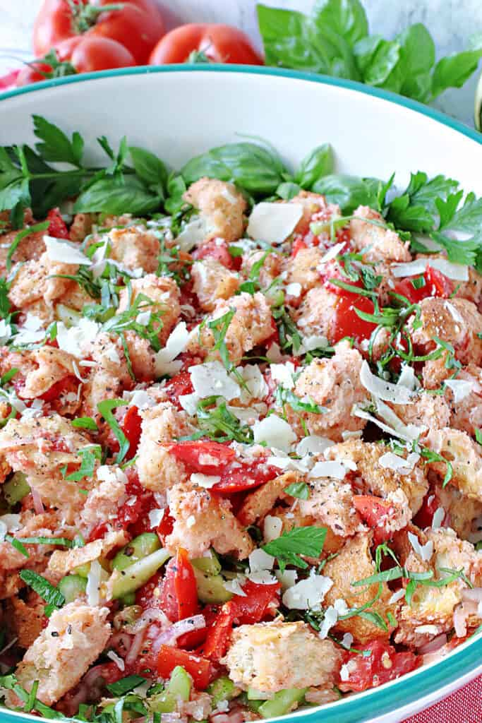 A vertical close up of an Italian Panzanella Salad in a large serving bowl with fresh tomatoes, cheese, and fresh herbs.