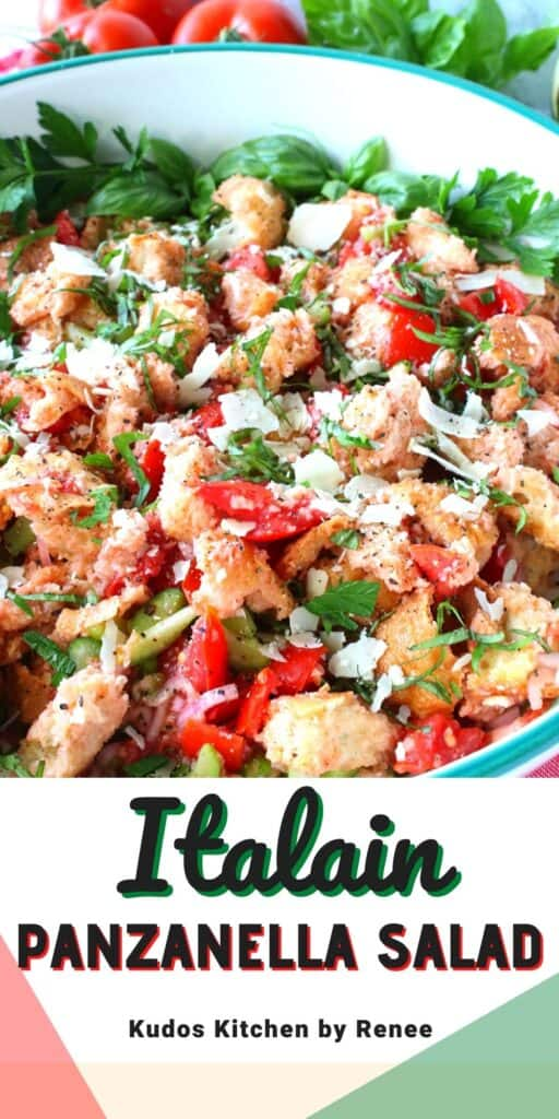 A vertical collage featuring a title text overlay graphic for an Italian Panzanella Salad with tomatoes, cheese, and basil.