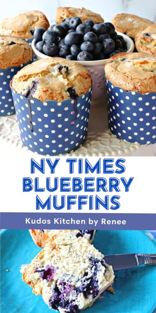 A vertical two image collage along with a title text overlay graphic for NY Times Blueberry Muffins in blue and white polka dot cups.