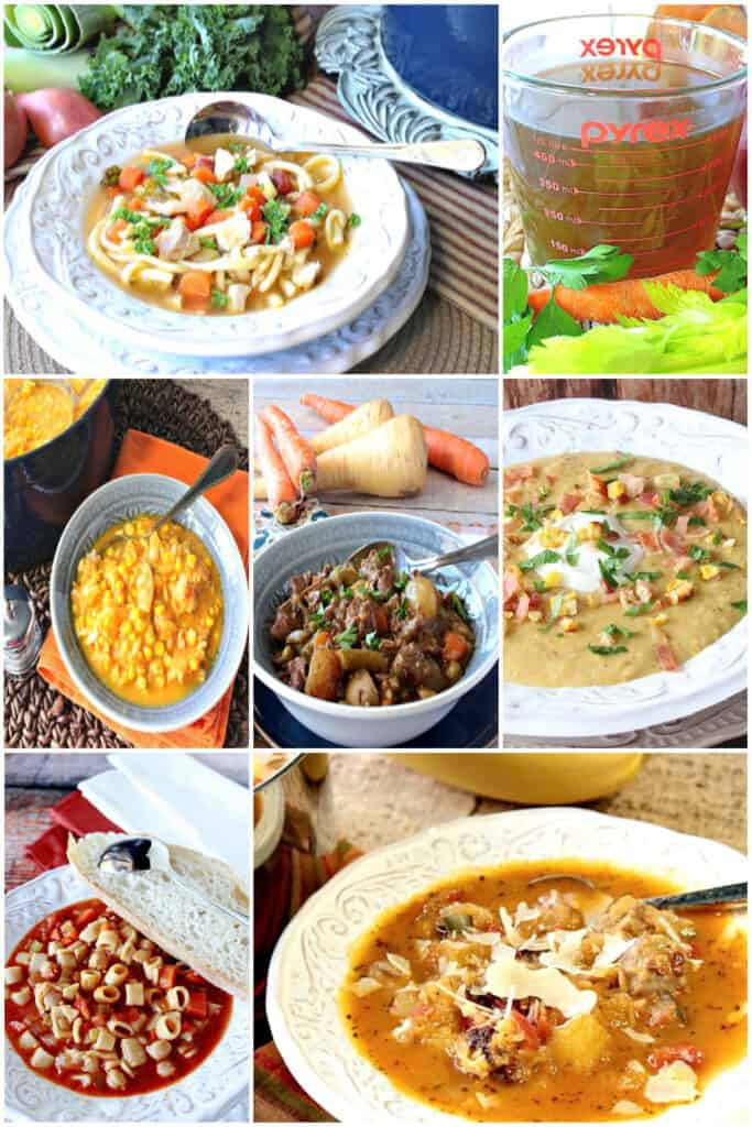 A vertical collage filled with images of Soup, Stew, and Chowder recipes from Kudos Kitchen by Renee.
