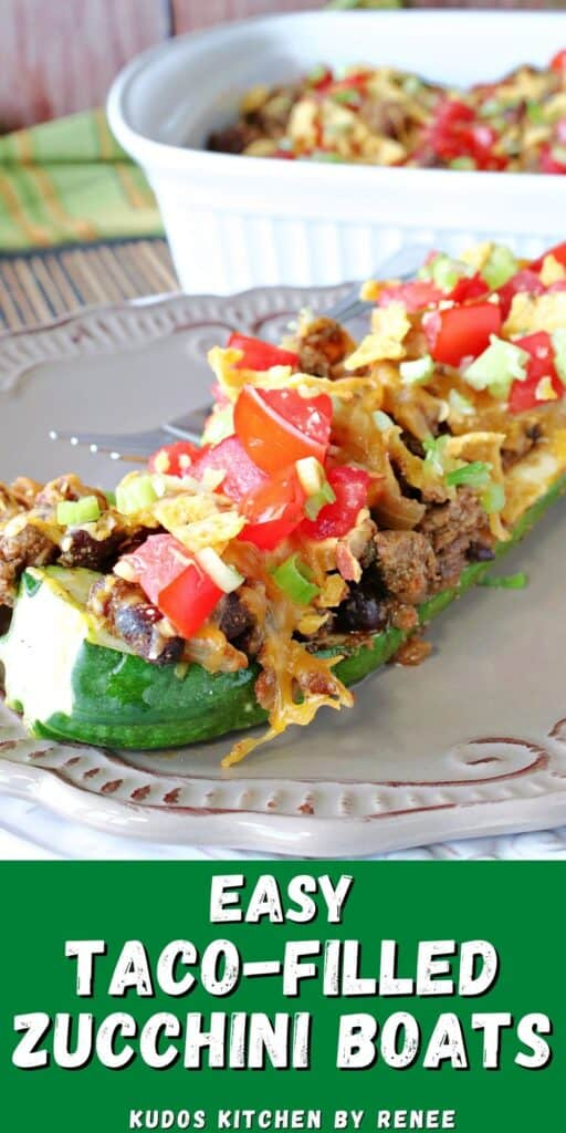 A vertical closeup image of a Taco-Filled Zucchini Boat along with a title text overlay graphic.