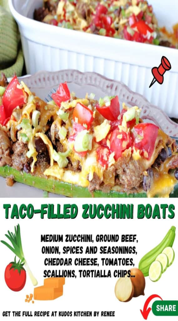 A vertical closeup along with a title text and cute ingredient graphics for Taco-Filled Zucchini Boats.