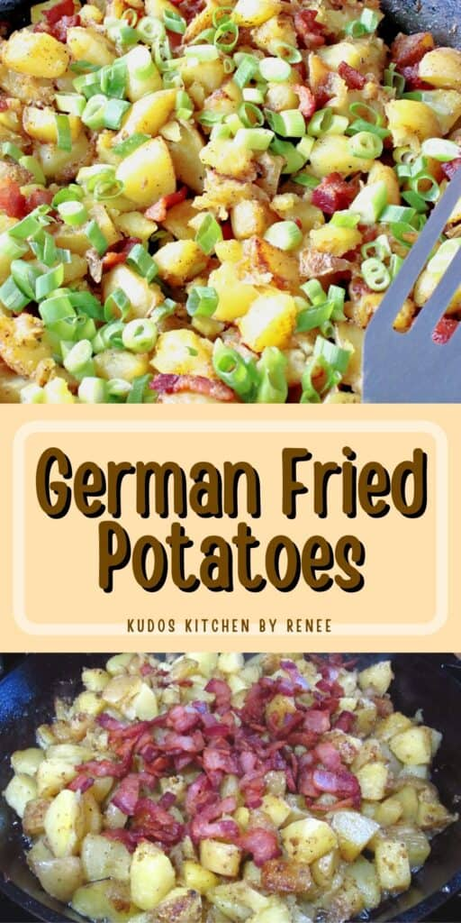 A vertical two image collage of German Fried Potatoes along with a title text overlay graphic.