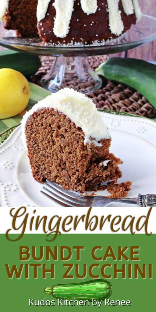 A vertical closeup of a slice of Gingerbread Bundt Cake with Zucchini on a plate along with a title text overlay graphic under the image.