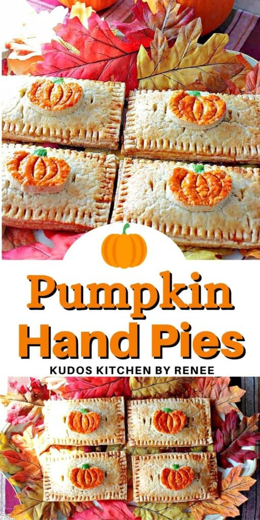 A two image vertical collage of Pumpkin Hand Pies along with a cute title text overlay graphic.