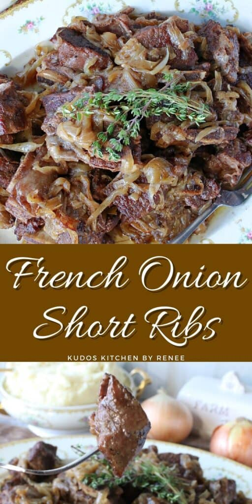 A vertical two image collage of French Onion Short Ribs along with a title text overlay graphic in the center.