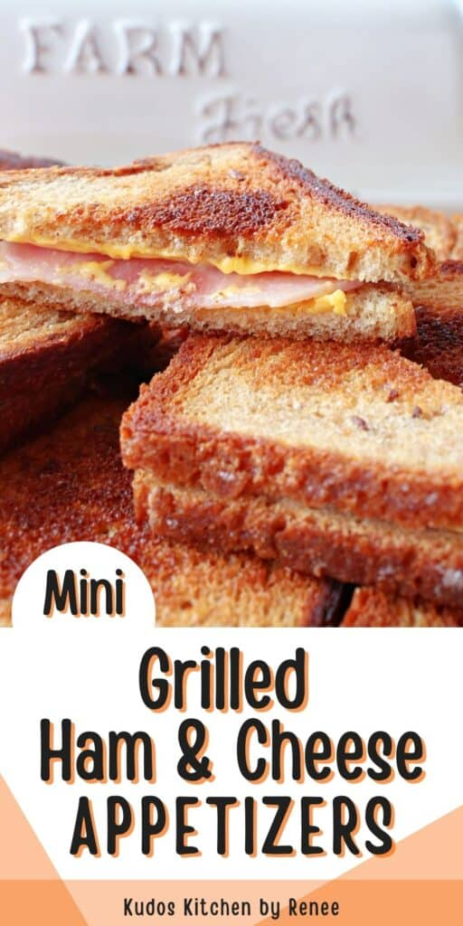 A vertical closeup along with a title text overlay graphic for Mini Grilled Ham and Cheese Appetizers with melted cheese and ham.