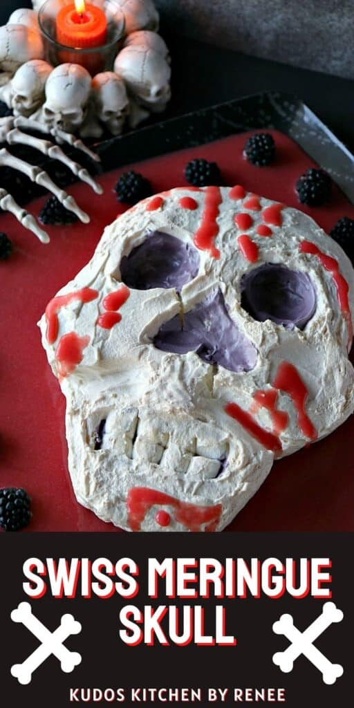 A vertical image of a Swiss Meringue Skull with fake strawberry blood on a platter along with a title text overlay graphic.